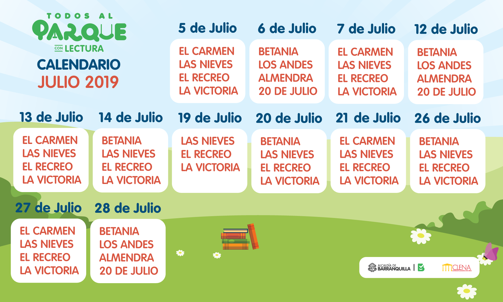 Calendario de Julio - Todos Al Parque Con Lectura
