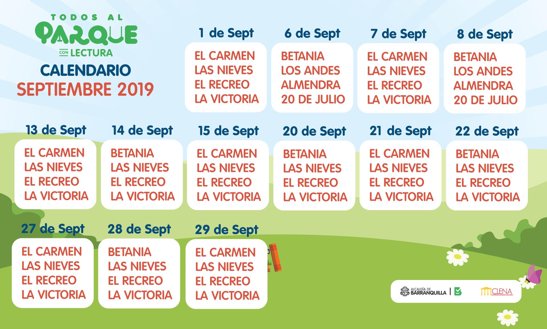 Calendario de Septiembre - Todos Al Parque Con Lectura